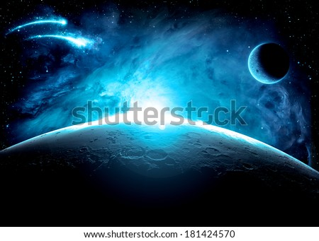 Blue Planet Surface - Elements of This Image Furnished By NASA - stock photo