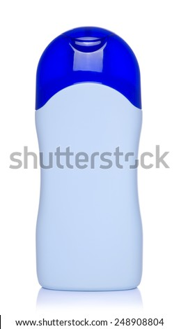 Blue plastic bottle of shampoo, conditioner, hair rinse, gel, on a white background with reflection. - stock photo