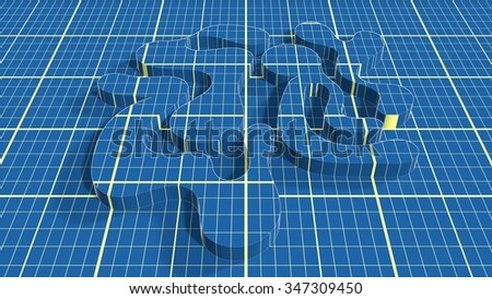 Blue print net textured abstract curved shape on blueprint surface