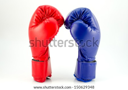 Blue Red boxing gloves isolated on white - stock photo