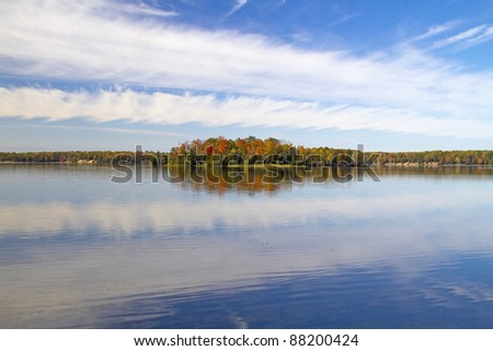 """Blue Reflection"" - Clouds and Water, Au Sable River, Oscoda, Michigan, USA"