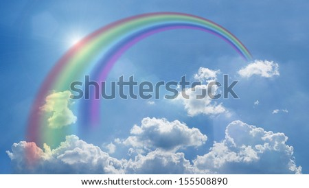 blue sky, white clouds, place for your content - stock photo
