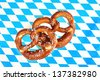 Blue white bavarian heart on checkered background - stock photo