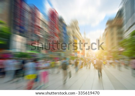 blur abstract people background,Shanghai - stock photo