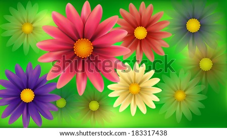 Blur flowers abstract background. Raster version. - stock photo
