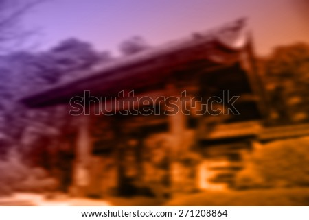 (BLUR style Abstract background) Traditional style Japanese gate architecture made from wood. - stock photo