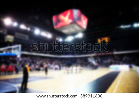 blured image of basketball court - stock photo