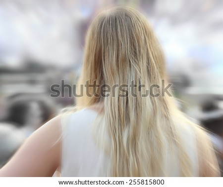 blurred people walk on road - stock photo