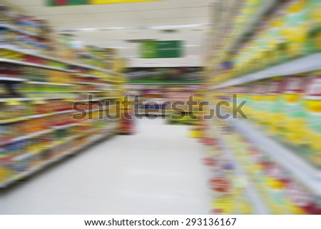 Blurred supermarket background and unidentified people who are shopping