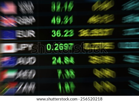 blurry currency exchange background, currency exchange rate on digital LED display board in global background, news