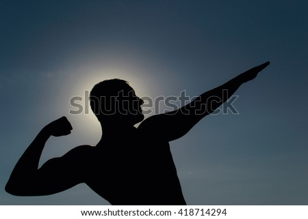 bodybuilder in the sun - stock photo