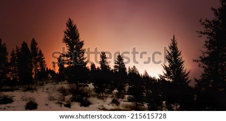 bogus basin ski area in boise, idaho at night shot with a long exposure - stock photo
