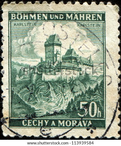 BOHEMIA AND MORAVIA - CIRCA 1939: A stmp printed in Bohemia and Moravia shows Karluv Tyn - Karlstein Castle,  circa 1939