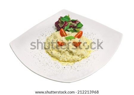 boiled rice with salad and sauce - stock photo