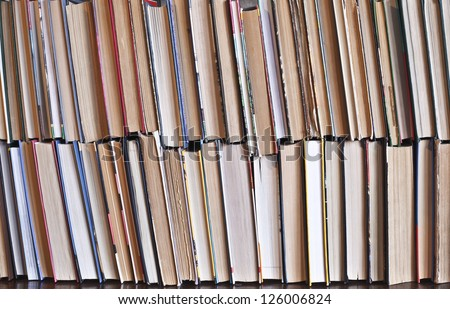 books in a library - backdrop - stock photo