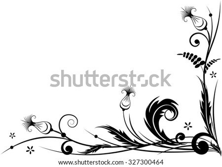 border for corner design with stylized thistle in black and white colors - stock photo