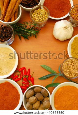 border of spice and herbs