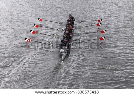 BOSTON - OCTOBER 18, 2015: Archbishop Carroll races in the Head of Charles Regatta Women's Youth Eights [PUBLIC RACE] - stock photo