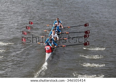 BOSTON - OCTOBER 18, 2015: California races in the Head of Charles Regatta Men's Master Eights [PUBLIC RACE]