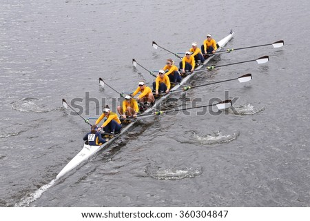 BOSTON - OCTOBER 18, 2015: California won in the Head of Charles Regatta Women's Master Eights [PUBLIC RACE]