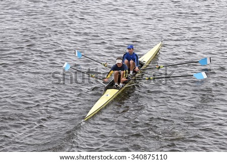 BOSTON - OCTOBER 18, 2015: Cambridge races in the Head of Charles Regatta Men's Master Doubles [PUBLIC RACE]