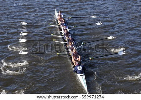BOSTON - OCTOBER 23, 2016: Sarasota Crew races in the Head of Charles Regatta Men's Youth Eights [PUBLIC RACE]