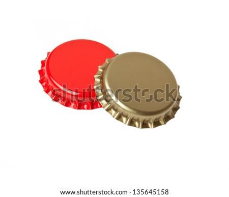 bottle lids isolated on white background - stock photo