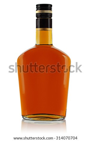 bottle of booze on a white background.