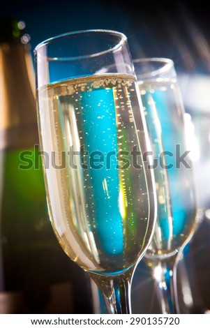 Bottle of sparkling wine and champagne glasses