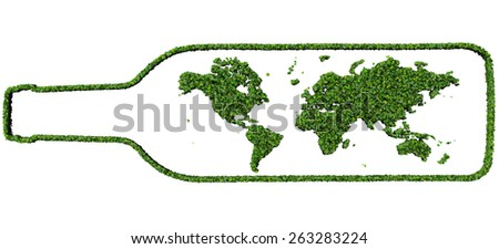 Bottle with earth made from green leaves isolated on white background. 3D render. - stock photo
