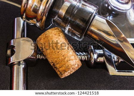 bottle with the corkscrew and wine accessories - stock photo
