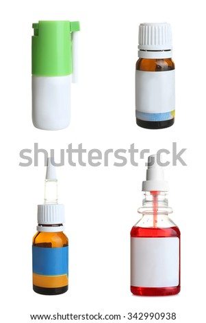 bottle with the cure for the common cold on white isolated background collage