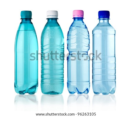 4 bottles of water isolated on white background - stock photo