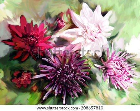 Bouquet of stylized colorful chrysanthemums on grunge stained  background         - stock photo