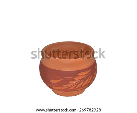 bowl earthenware on white background - stock photo
