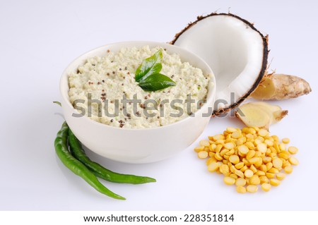 bowl of indian chutney, coconut chutney,Coconut chutney in a bowl. - stock photo
