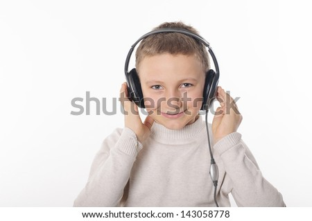 Boy with headphones on white background