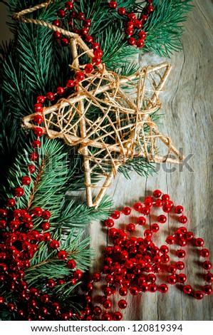 branches were eaten with toys and beads - stock photo