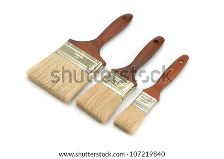 3 Brand new paint brush isolated on a white background - stock photo