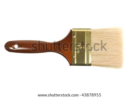Brand new paint brush isolated on a white background - stock photo
