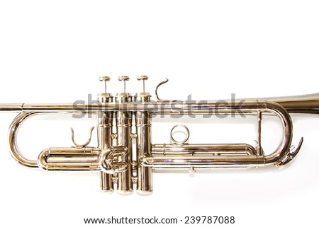 brass trumpet valves isolated on white background