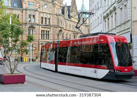 .BRAUNSCHWEIG, GERMANY - AUGUST 25, 2015: Tram in the center of Braunschweig