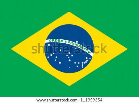 Brazil flag drawing by pastel on charcoal paper - stock photo