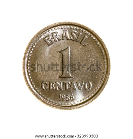 Brazil is one centavo coin isolated on white background. top view.revers