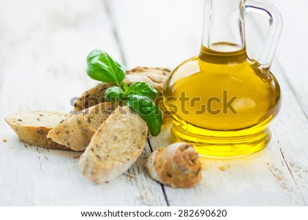 Bread olives and olive oil