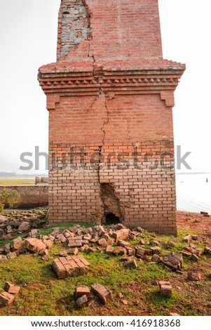 Brick building destroyed    - stock photo