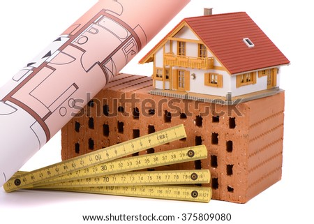brick for house construction and tool with model house