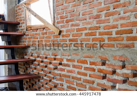 brick wall background and texture of red brick loft - stock photo
