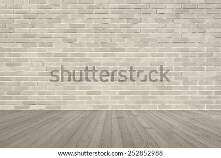 brick wall in  sepia-tone color with wooden floor  - stock photo