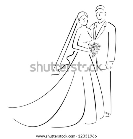 * Bride and Groom - stock photo